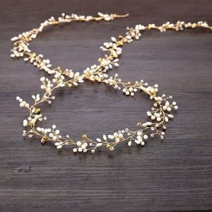 Gold hair Vine with crystal rhinestone and pearl